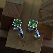 Hoop Earrings with Square Peridots