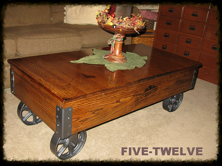 Railroad Coffee Table Cart, handmade coffee table, railroad cart coffee  table, custom wood - Five Twelve Woodworking/factory Carts/illinois Industrial Furniture