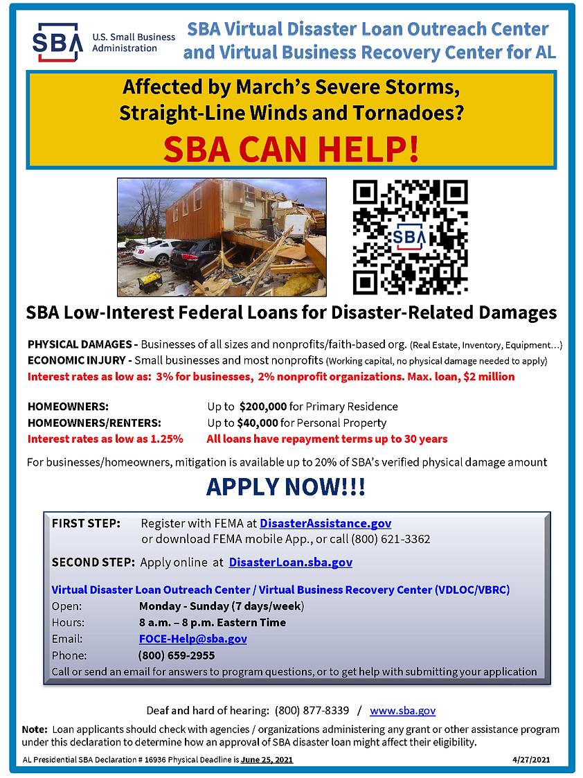 AL 16936 SBA Disaster Assistance Flyer (