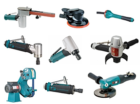 Grinders, Drills, Sanders, Belt Tools, Dotco, Dynabrade, Michigan Pneumatic, CP, Air Turbine, Desoutter, IR, Top Cat, Sioux, Nitto