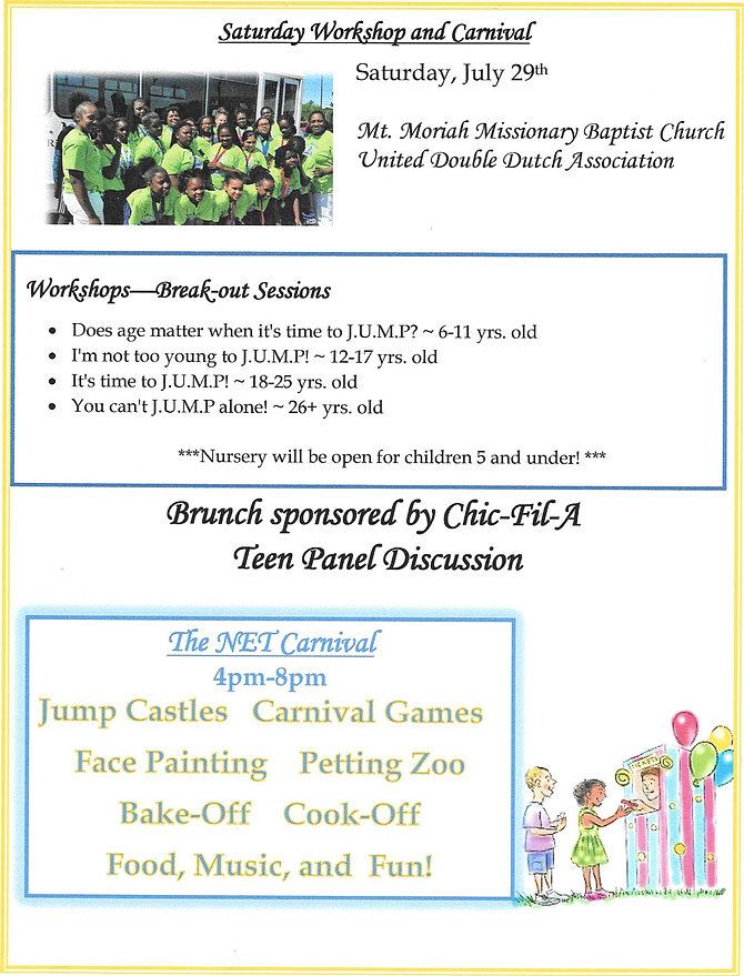 Saturday Workshop's & Carnival