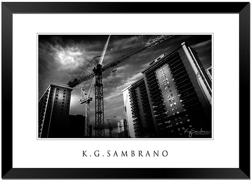 Black and white photo of construction crane