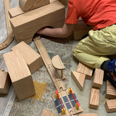 Kids Avenue daycare calgary free play with open-ended blocks