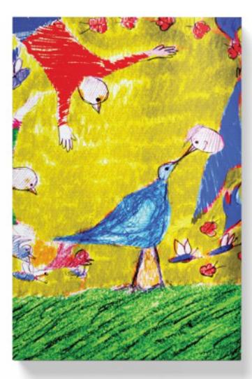 designed birds on canvas
