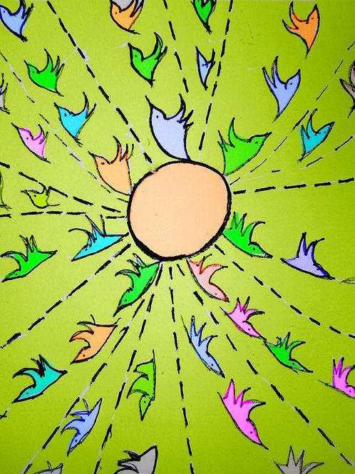 כרית ציפורים רוקדות