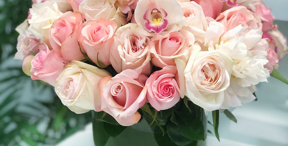 Roses with Peonies and Cymbidium Orchids