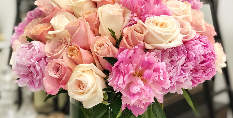 Peonies with Multi-Color Roses