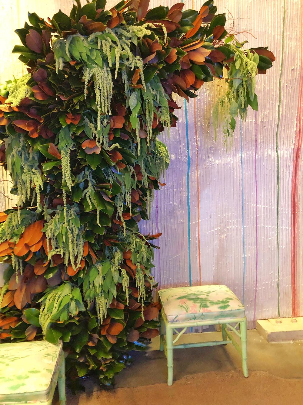 Magnolia leaf and amaranth arch