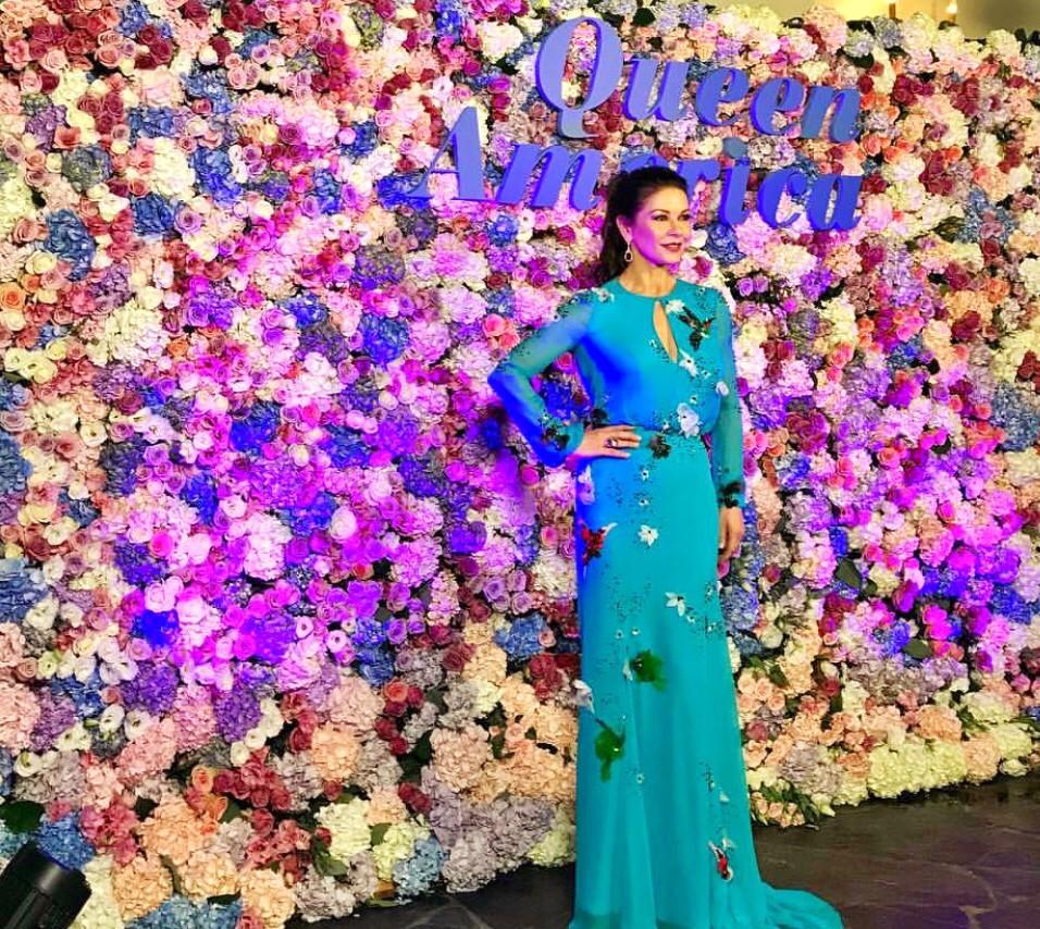 Catherine Zeta Jones and Oldvine Florals Flower Wall