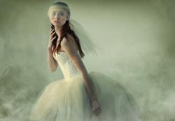 woman in tulle dress portrait