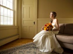 Bride by a window portrait