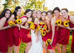 Bride and Bridesmaids Fall wedding