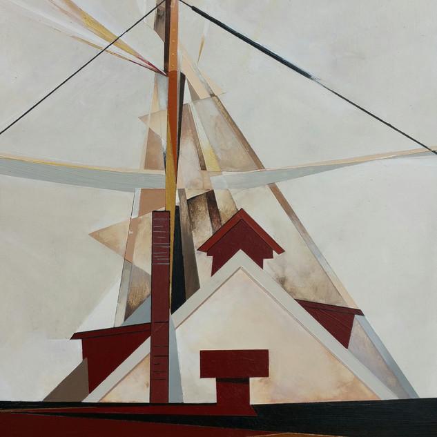 """Masts II, 8x10"""" on wood panel"""