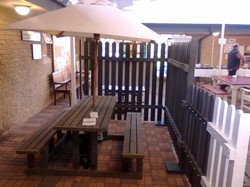6 Seater Picnic Bench Set fitted with an Umbrella
