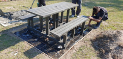 6 Seater Picnic Bench Set being set in concrete