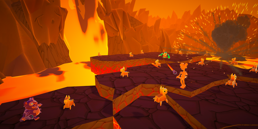 Fiery Battle Arena with Shifting Platforms