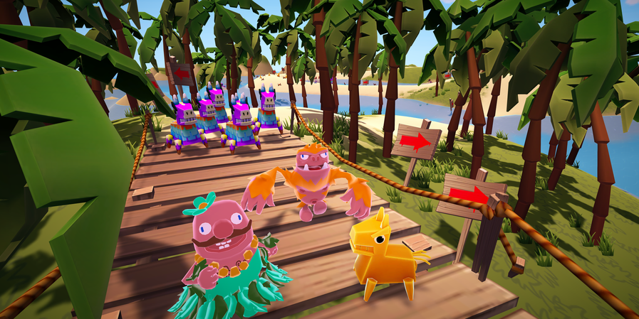 Pedro and Chompster Racing on a Tropical Island