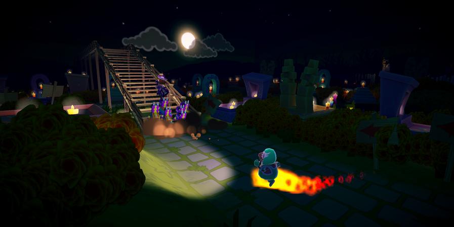 Spooky Full Moon in a Graveyard Race