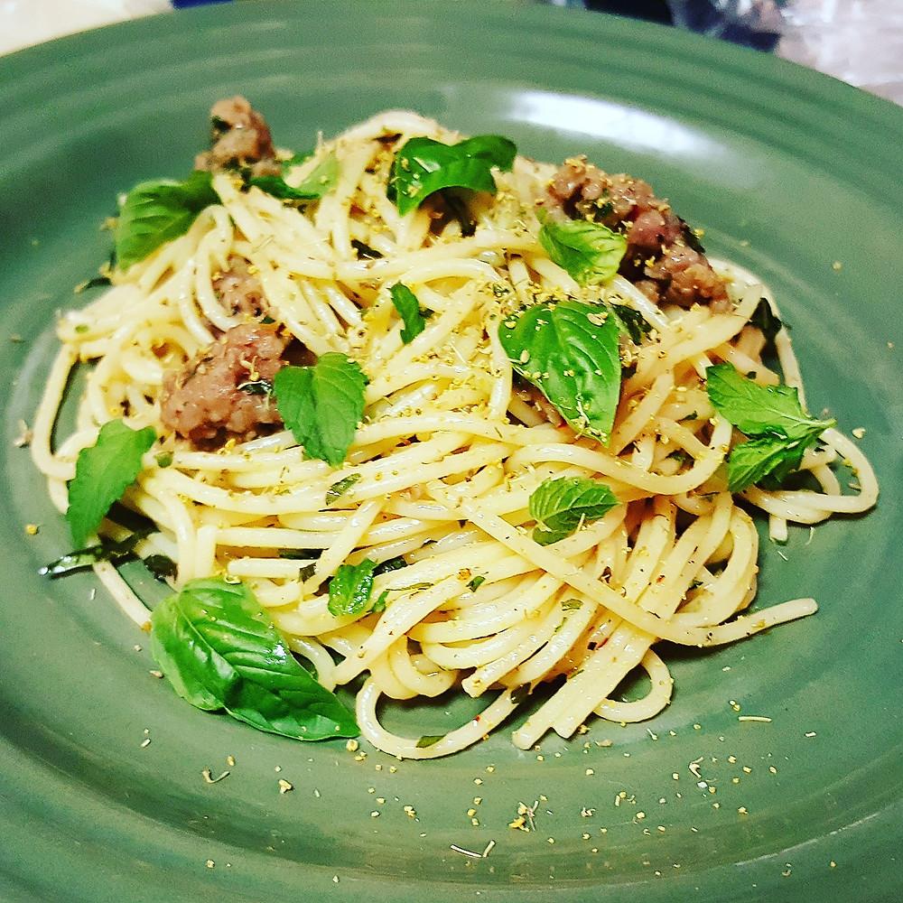 Porchetts Seasoned Pasta with Italian Sausage