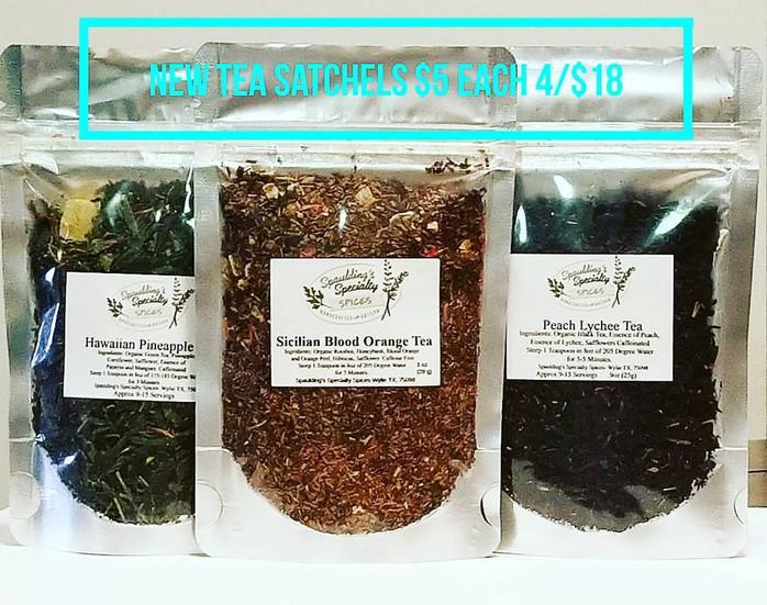 Tea Satchels and Tea 4 Pack Samplers have arrived- 20 Flavors
