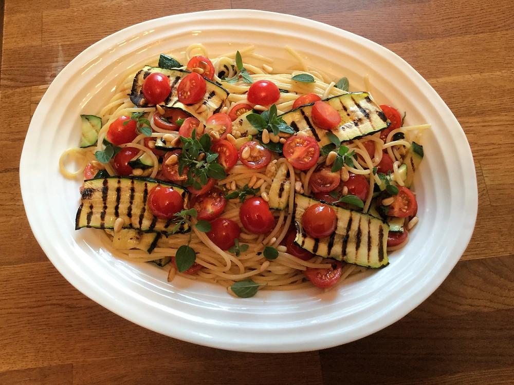 Spaghetti pomodorini and courgettes