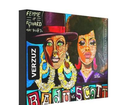 Badu vs Scott by Valencia Goodwin Canvas