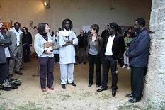 Vernissage en présence de XX de la Francophonie, des commissaires Christine e Wagane Gueye, des artistes Sylvie Brouat, Ndoye Douts et Kwamé N'Goran, marraine Fatimata Amy.