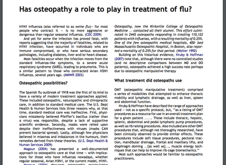 Has osteopathy a role to play in treatment of flu?