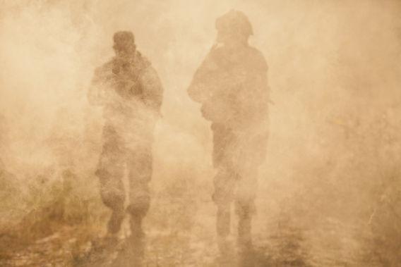 Military soldiers fighting mental fog PTSD