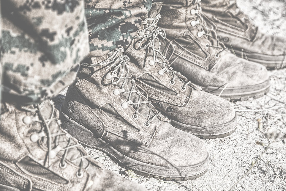 military boots line up veteran support