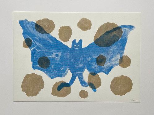 A4 Bat Riso Print