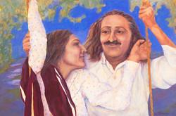 Baba and Mehera on swing