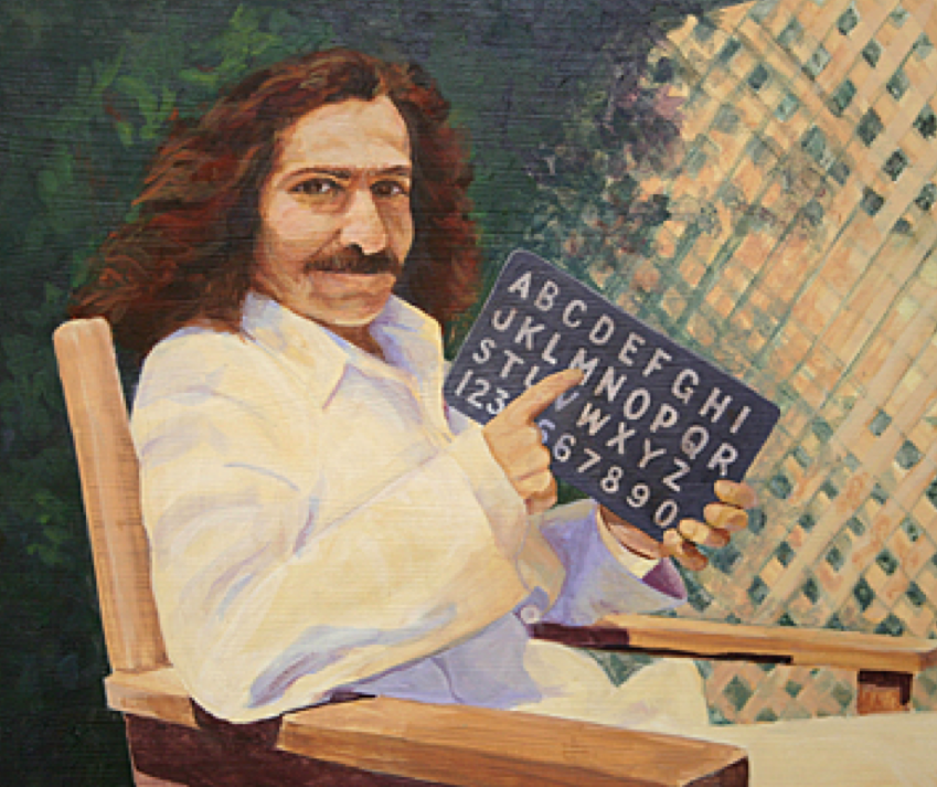 Meher Baba with Alphabet Board