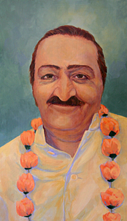 Meher Baba with Garland