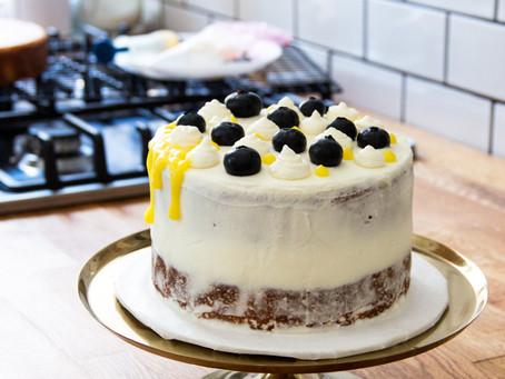 Lemon Blueberry Cake with Lemon Curd and Mascarpone Frosting