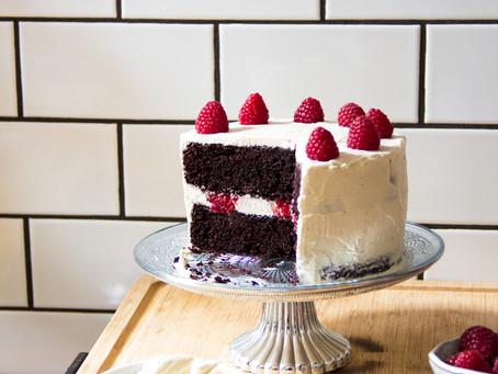 Chocolate Raspberry Tahini Cake with Tahini Buttercream Frosting