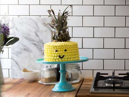 A Tropical Pineapple and Orange Mousse Layer Cake.