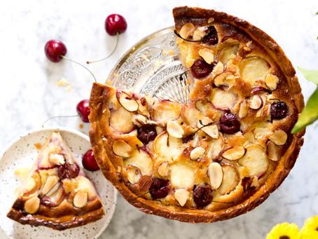 Summer's bounty: Cherry, Peach and Frangipane Tart