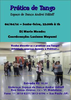 Prática dançante em 04 de abril 2014