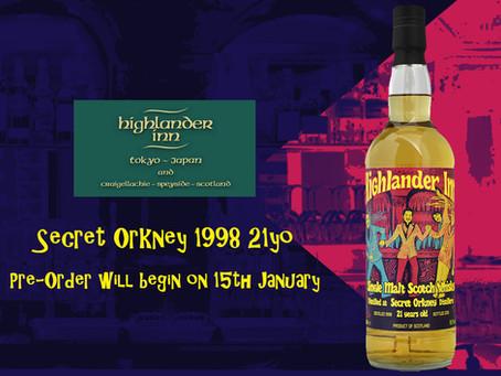 Highlander Inn Tokyo オリジナルボトル「SECRET ORKNEY 1998 21yo」をリリースいたします