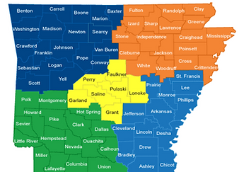 Arkansas Vaccines For Childen representive by region map
