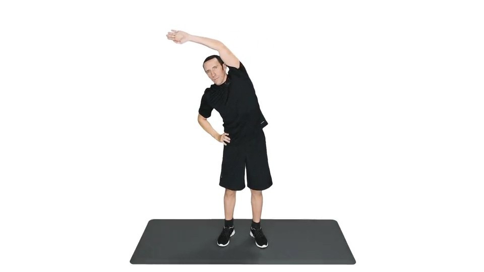 Picture of a man doing a side bend stretch