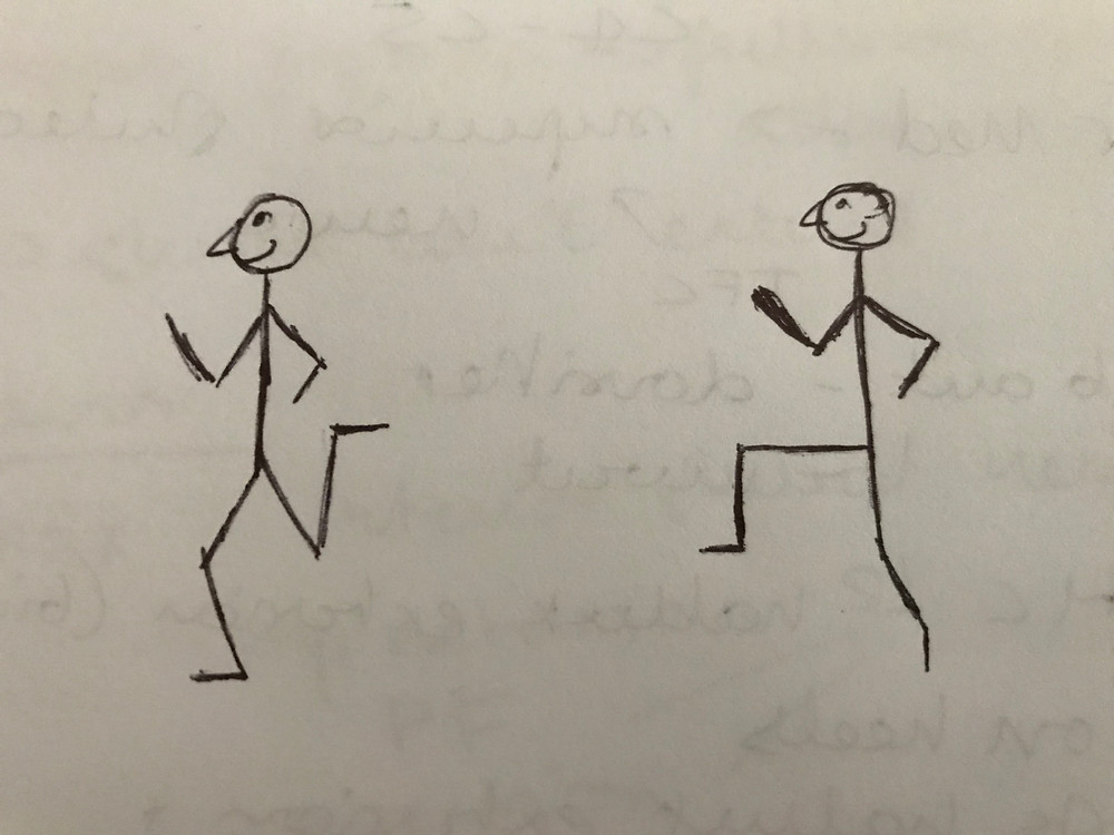 stick person drawing of high knees and heel flicks