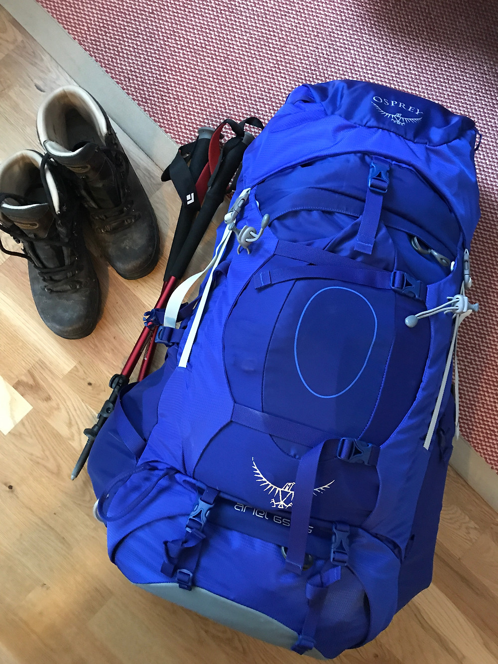 Picture of my Blue Osprey 65 litre pack on the floor with walking poles and walking boots