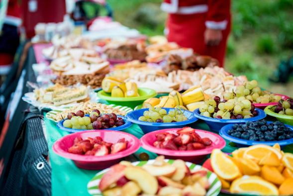 Ultra race aid station food spread