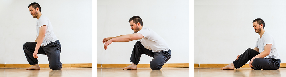 Series of three pictures of someone sitting down onto the floor without using their hands