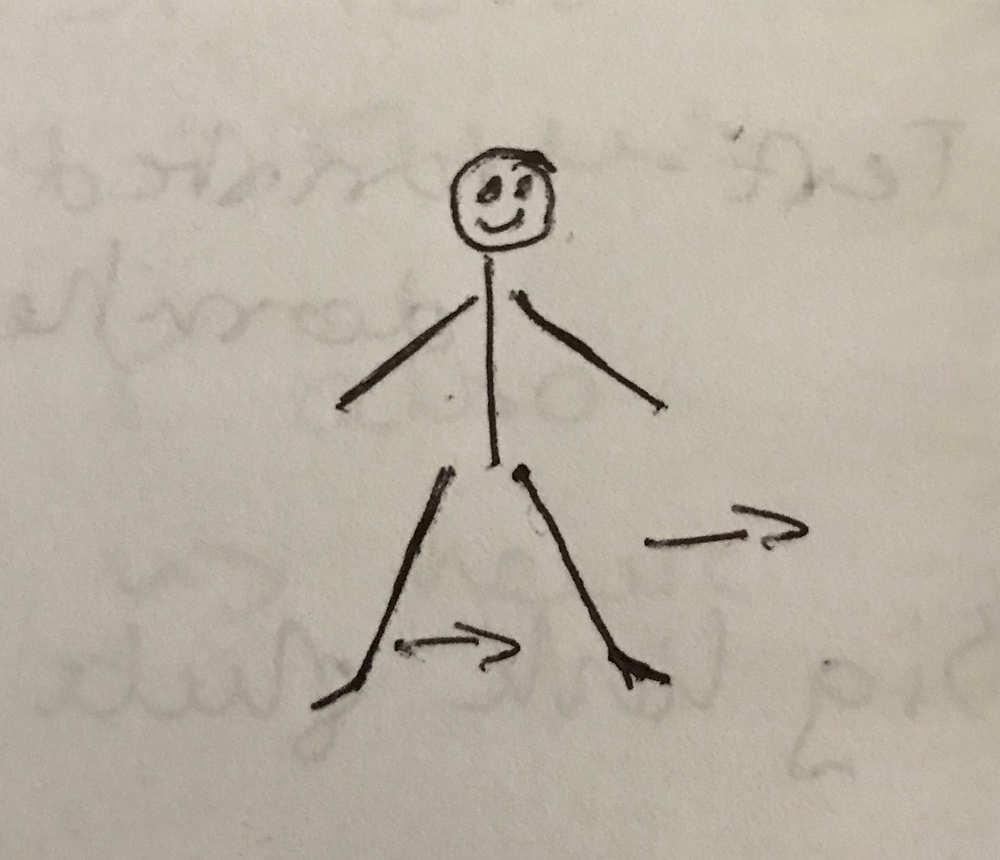 stick person drawing of side skips