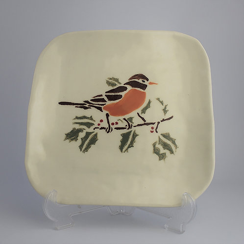 Square Plate - Bird (Robin) design