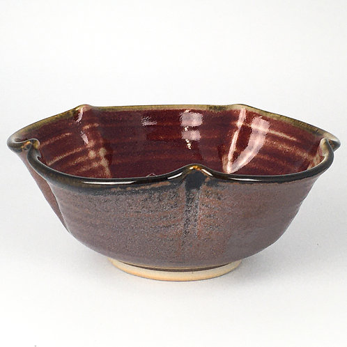 Fluted Bowl-red and black/brown