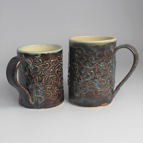 Set of two blue mugs